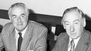 Gough Whitlam next to my friend Lionel Murphy